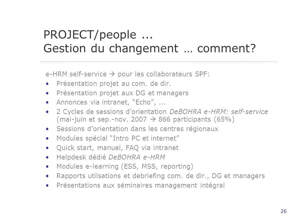 26 PROJECT/people...Gestion du changement … comment.
