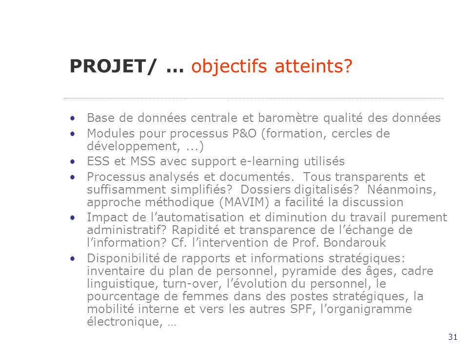 31 Base de données centrale et baromètre qualité des données Modules pour processus P&O (formation, cercles de développement,...) ESS et MSS avec support e-learning utilisés Processus analysés et documentés.