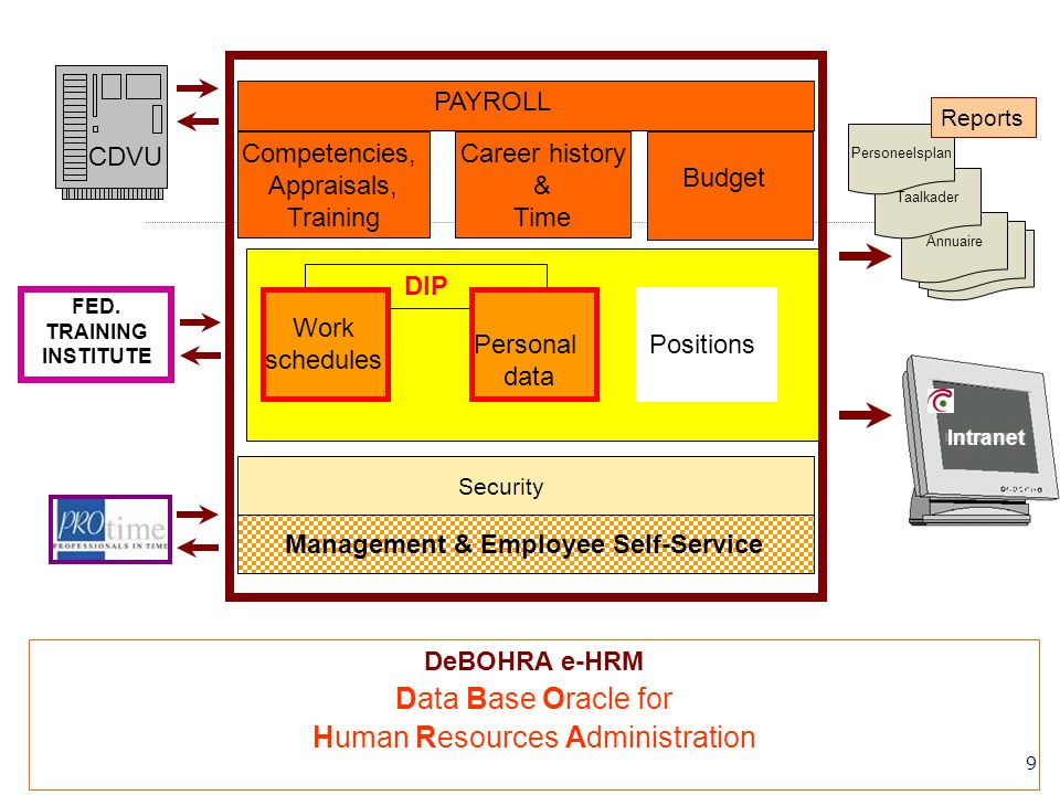 10 PAYROLL Security DeBOHRA e-HRM Data Base Oracle for Human Resources Administration CDVU Annuaire Taalkader Personeelsplan Intranet FED.
