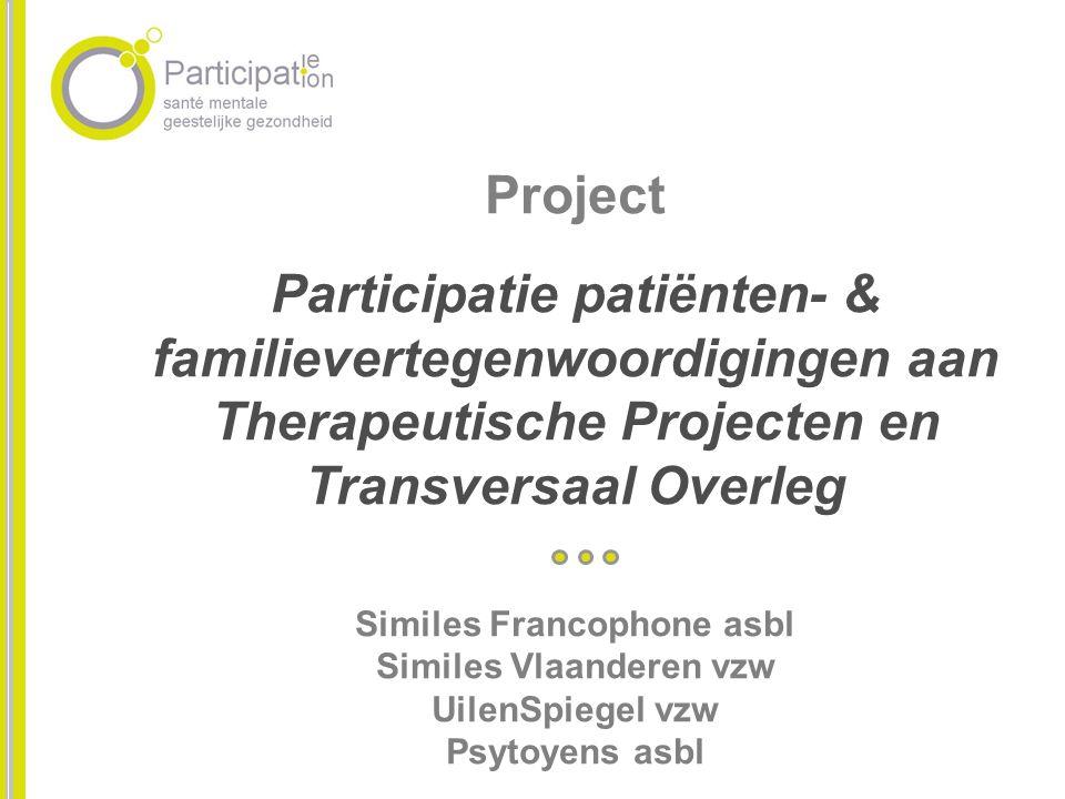 Project Participatie patiënten- & familievertegenwoordigingen aan Therapeutische Projecten en Transversaal Overleg Similes Francophone asbl Similes Vl