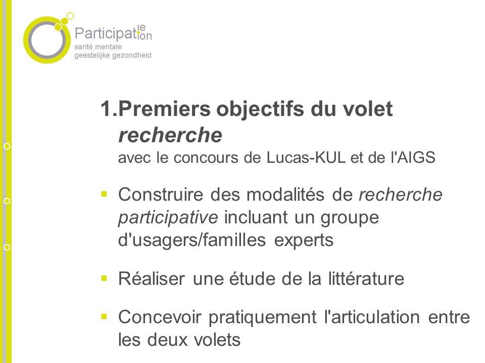 1.Premiers objectifs du volet recherche avec le concours de Lucas-KUL et de l'AIGS Construire des modalités de recherche participative incluant un gro