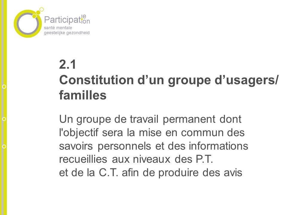 2.1 Constitution dun groupe dusagers/ familles Un groupe de travail permanent dont l objectif sera la mise en commun des savoirs personnels et des informations recueillies aux niveaux des P.T.
