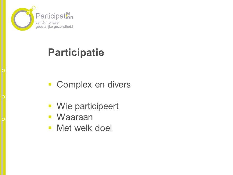Participatie Complex en divers Wie participeert Waaraan Met welk doel