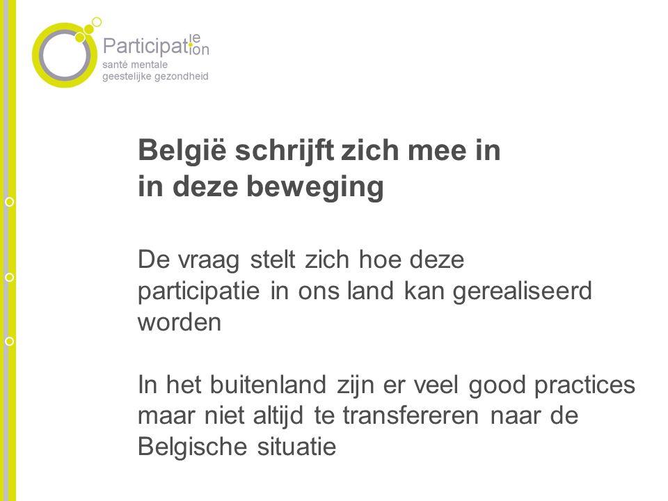 België schrijft zich mee in in deze beweging De vraag stelt zich hoe deze participatie in ons land kan gerealiseerd worden In het buitenland zijn er v