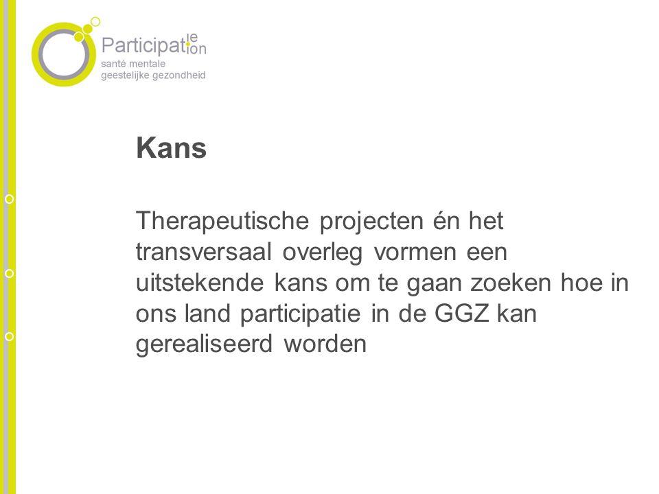 Kans Therapeutische projecten én het transversaal overleg vormen een uitstekende kans om te gaan zoeken hoe in ons land participatie in de GGZ kan ger