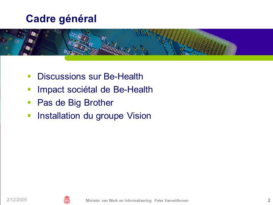 2/12/2005 Minister van Werk en Informatisering Peter Vanvelthoven 2 Cadre général Discussions sur Be-Health Impact sociétal de Be-Health Pas de Big Br