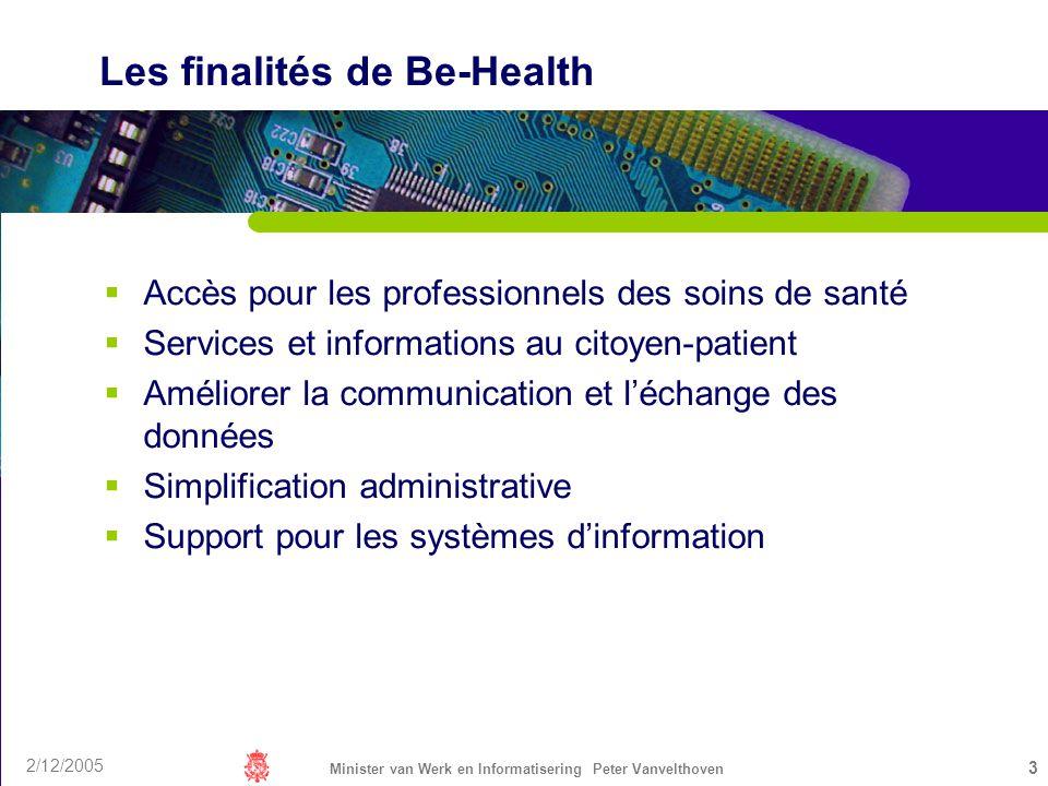 2/12/2005 Minister van Werk en Informatisering Peter Vanvelthoven 3 Les finalités de Be-Health Accès pour les professionnels des soins de santé Servic