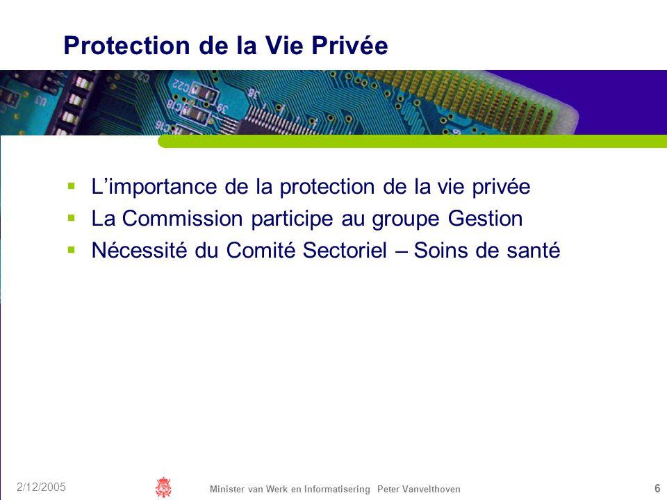2/12/2005 Minister van Werk en Informatisering Peter Vanvelthoven 6 Protection de la Vie Privée Limportance de la protection de la vie privée La Commi