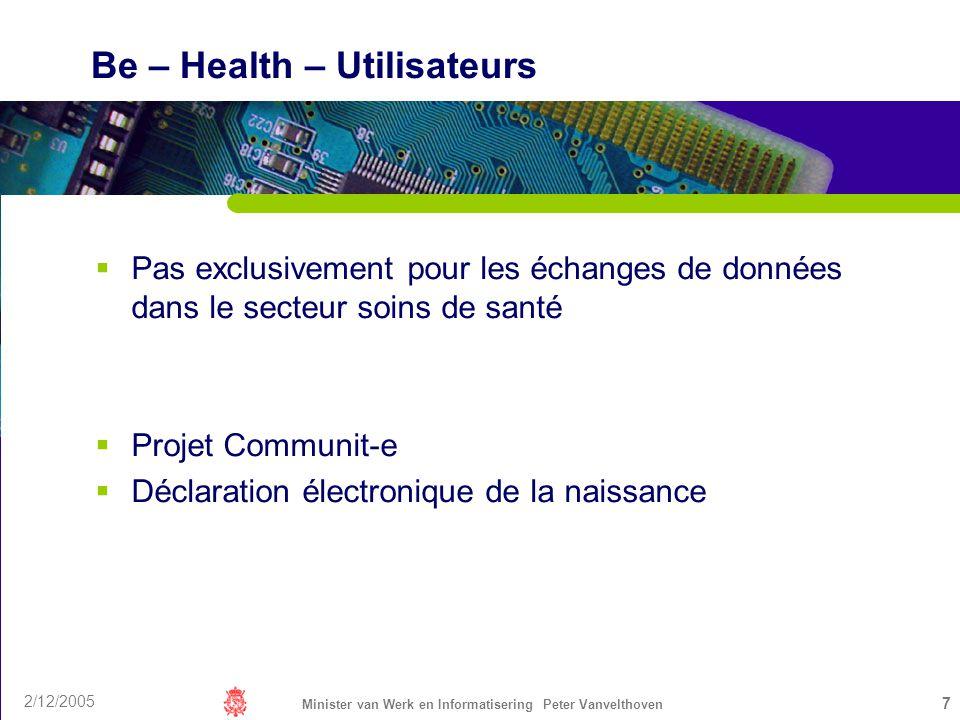2/12/2005 Minister van Werk en Informatisering Peter Vanvelthoven 7 Be – Health – Utilisateurs Pas exclusivement pour les échanges de données dans le