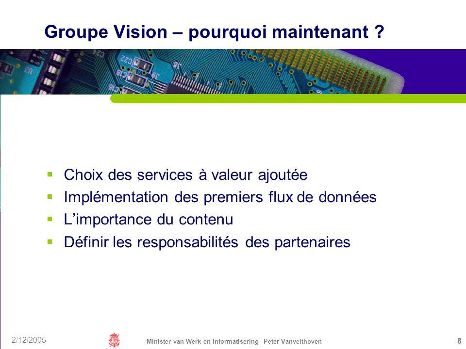 2/12/2005 Minister van Werk en Informatisering Peter Vanvelthoven 8 Groupe Vision – pourquoi maintenant ? Choix des services à valeur ajoutée Implémen