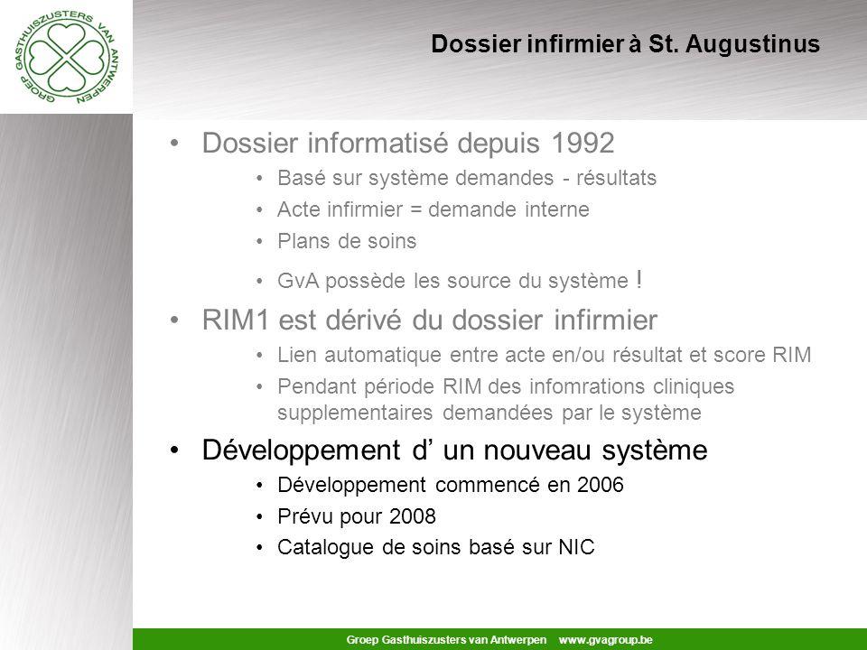 Groep Gasthuiszusters van Antwerpen www.gvagroup.be Problème RIM2 Doit être supporté par : Système existant (PCS) Nouveau système (2008) Autres systèmes –PDMS soins intensifs –Pharmacie –Dossier médical –Systèmes de département