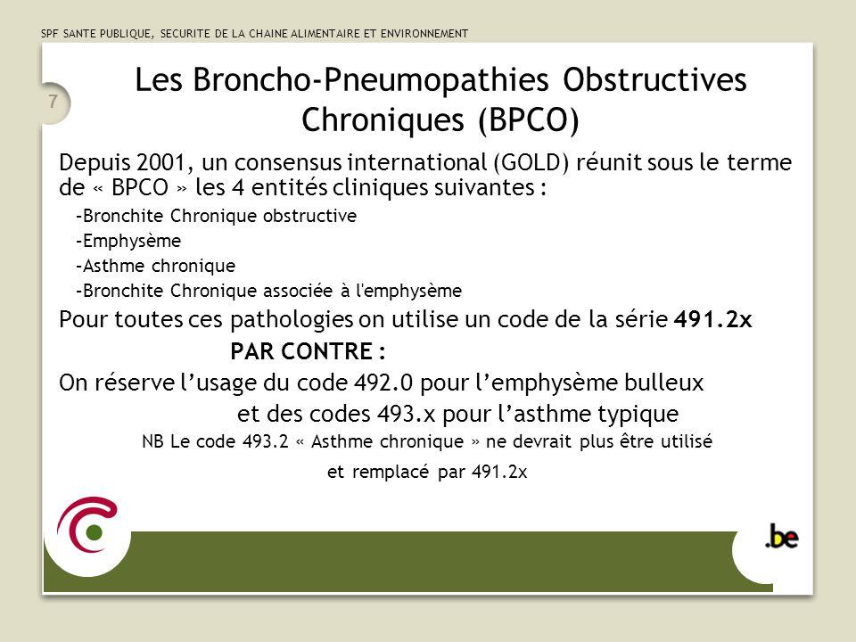 SPF SANTE PUBLIQUE, SECURITE DE LA CHAINE ALIMENTAIRE ET ENVIRONNEMENT 8 Les Broncho-Pneumopathies Obstructives Chroniques (BPCO) suite … Le 5 ième digit permet de décrire la présentation clinique.0 = « stable » ou « sans exacerbation ».1 = « avec exacerbation » ou « en crise » ou « déstabilisée ».2 = « associée à une bronchite aiguë » ou « surinfectée » A propos de lemphysème : Les termes «centrolobulaire», «panacinaire», «panlobulaire»,… sont des descriptions de CT scan.