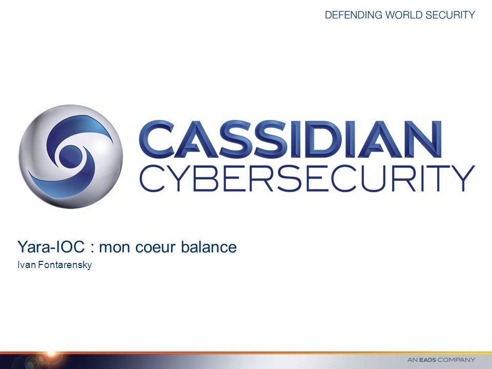 © 2012 CASSIDIAN CYBERSECURITY - All rights reserved Page IOC - OpenIOC Format développé et soutenu par Mandiant Description d une menace sous la forme d un arbre de condition.