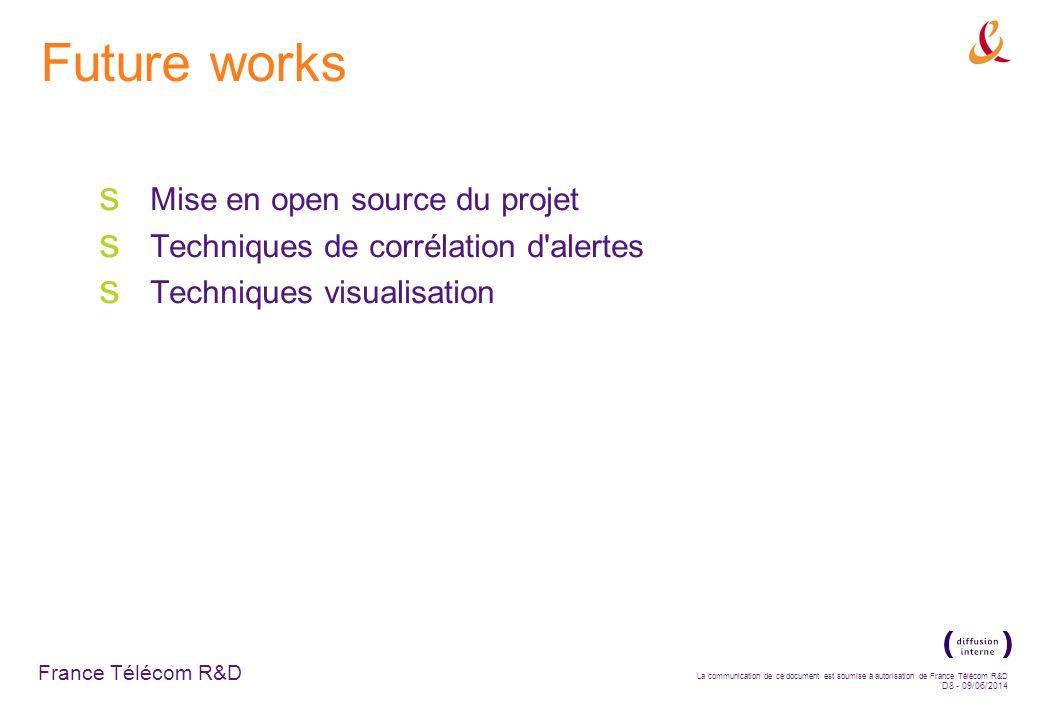 France Télécom R&D La communication de ce document est soumise à autorisation de France Télécom R&D D8 - 09/06/2014 Future works Mise en open source du projet Techniques de corrélation d alertes Techniques visualisation