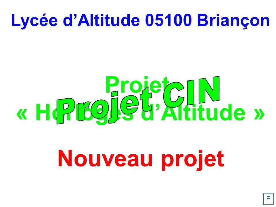 Lycée dAltitude 05100 Briançon Projet « Horloges dAltitude » Nouveau projet F