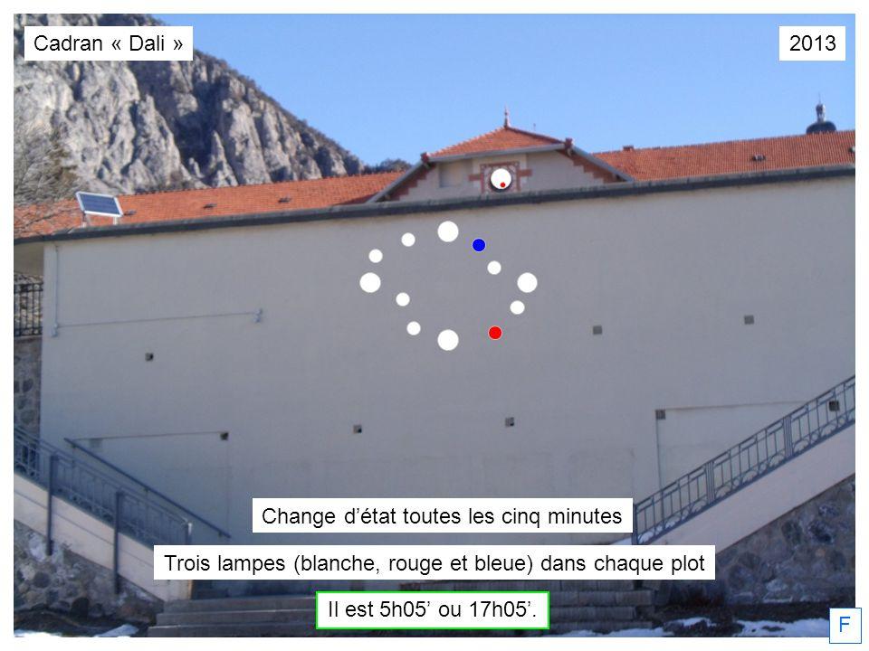 F Cadran « Dali » Trois lampes (blanche, rouge et bleue) dans chaque plot Il est 5h05 ou 17h05. Change détat toutes les cinq minutes 2013