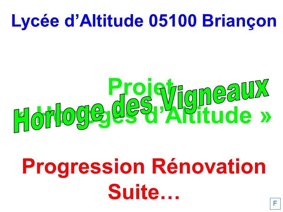 Lycée dAltitude 05100 Briançon Projet « Horloges dAltitude » Progression Rénovation Suite… F