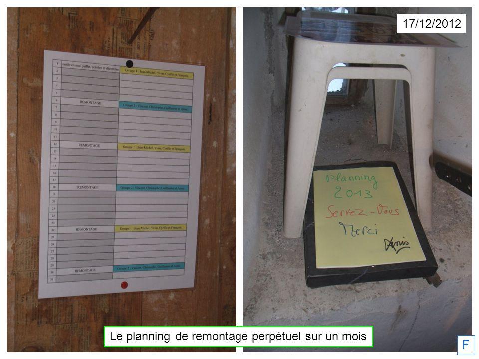 F 17/12/2012 Le planning de remontage perpétuel sur un mois