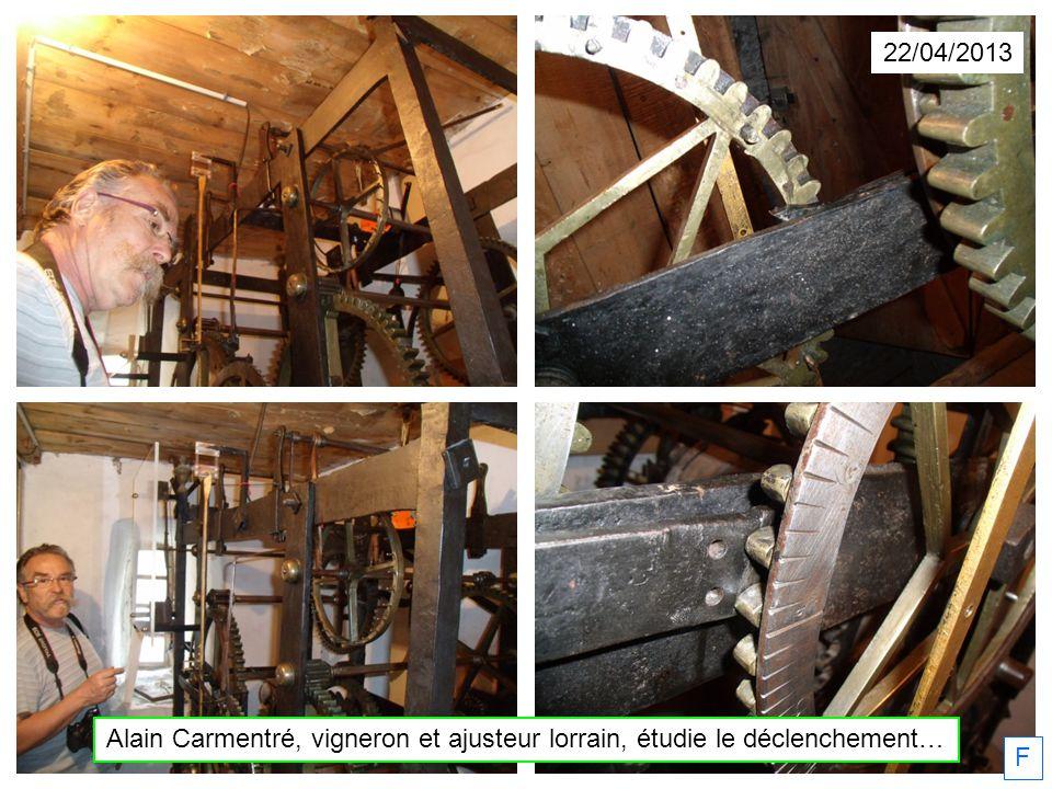 F 22/04/2013 Alain Carmentré, vigneron et ajusteur lorrain, étudie le déclenchement…