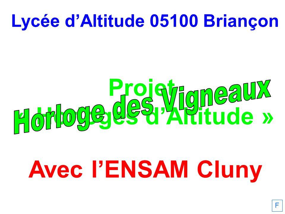 Lycée dAltitude 05100 Briançon Projet « Horloges dAltitude » Avec lENSAM Cluny F