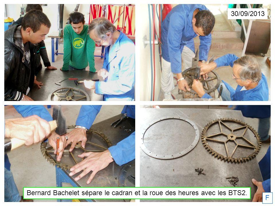 30/09/2013 F Bernard Bachelet sépare le cadran et la roue des heures avec les BTS2.
