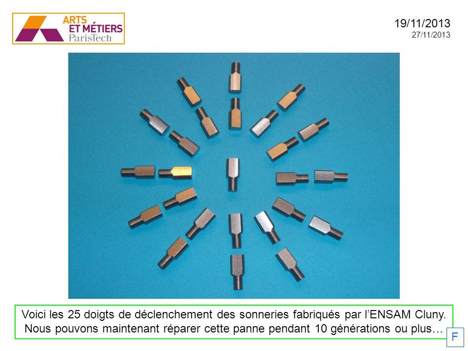 Voici les 25 doigts de déclenchement des sonneries fabriqués par lENSAM Cluny. Nous pouvons maintenant réparer cette panne pendant 10 générations ou p