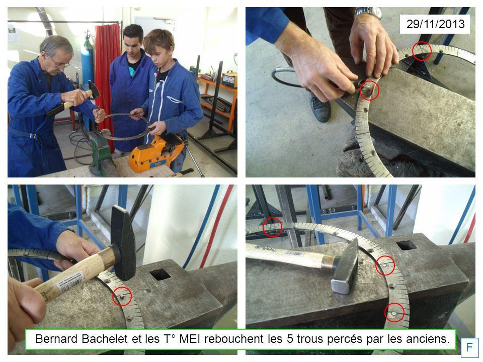 29/11/2013 Bernard Bachelet et les T° MEI rebouchent les 5 trous percés par les anciens. F