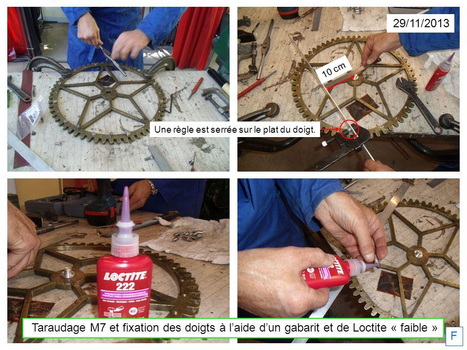 29/11/2013 Taraudage M7 et fixation des doigts à laide dun gabarit et de Loctite « faible » F Une règle est serrée sur le plat du doigt. 10 cm