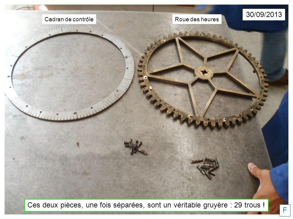 Ces deux pièces, une fois séparées, sont un véritable gruyère : 29 trous ! F Cadran de contrôleRoue des heures 30/09/2013
