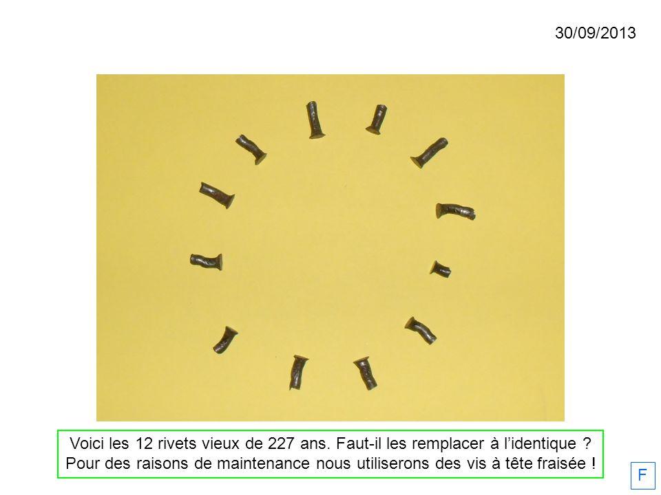Voici les 12 rivets vieux de 227 ans. Faut-il les remplacer à lidentique ? Pour des raisons de maintenance nous utiliserons des vis à tête fraisée ! 3