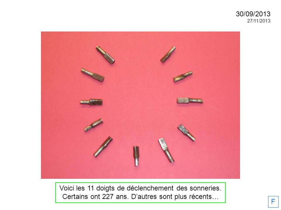 Voici les 11 doigts de déclenchement des sonneries. Certains ont 227 ans. Dautres sont plus récents… F 30/09/2013 27/11/2013