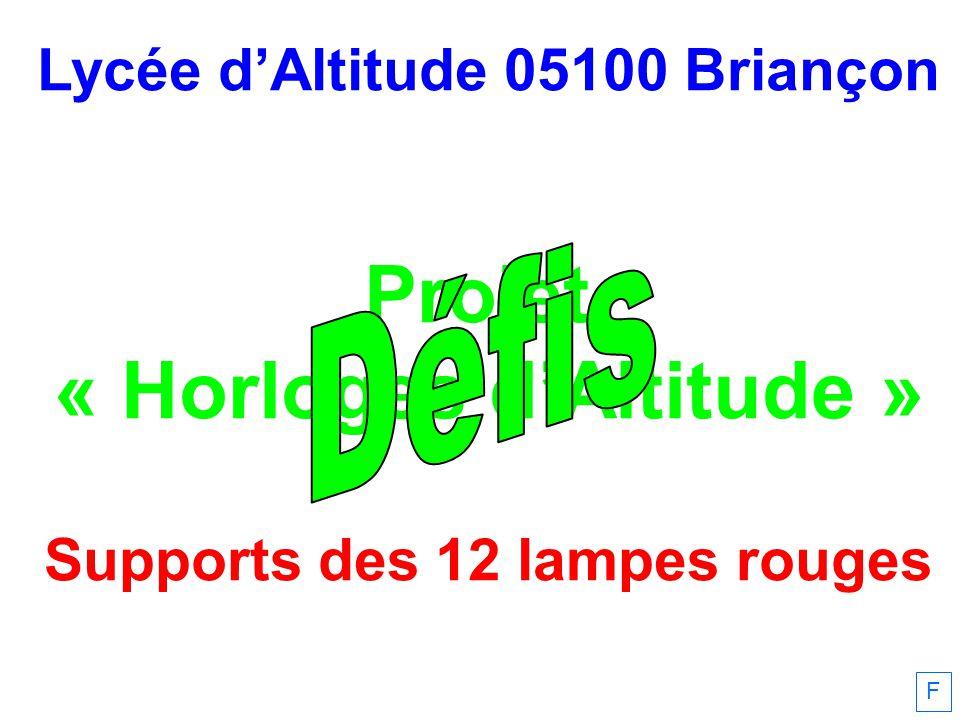 Lycée dAltitude 05100 Briançon Projet « Horloges dAltitude » Supports des 12 lampes rouges F