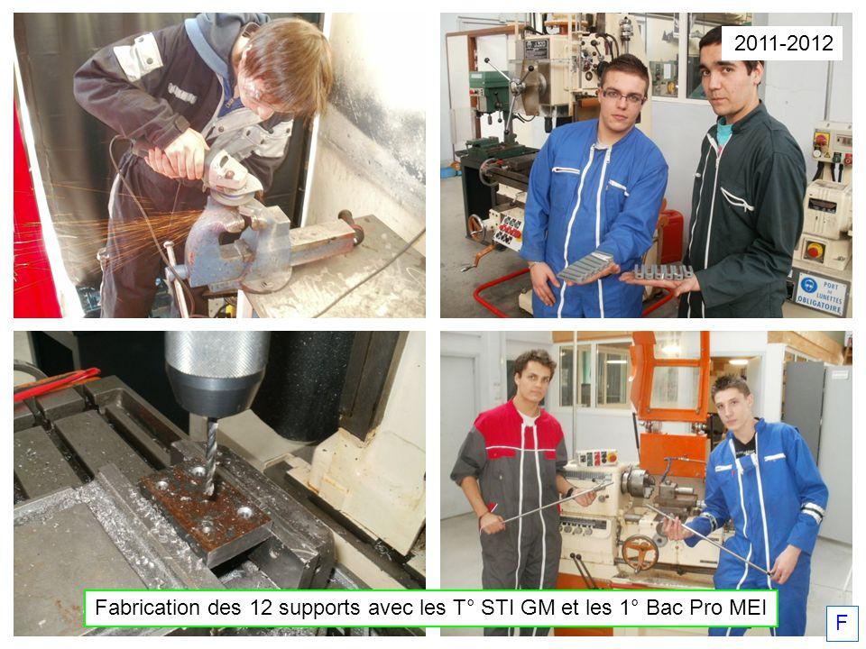2011-2012 Fabrication des 12 supports avec les T° STI GM et les 1° Bac Pro MEI F