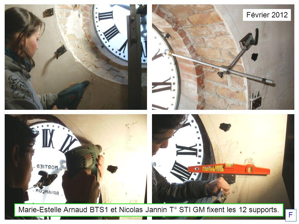 Février 2012 Marie-Estelle Arnaud BTS1 et Nicolas Jannin T° STI GM fixent les 12 supports. F