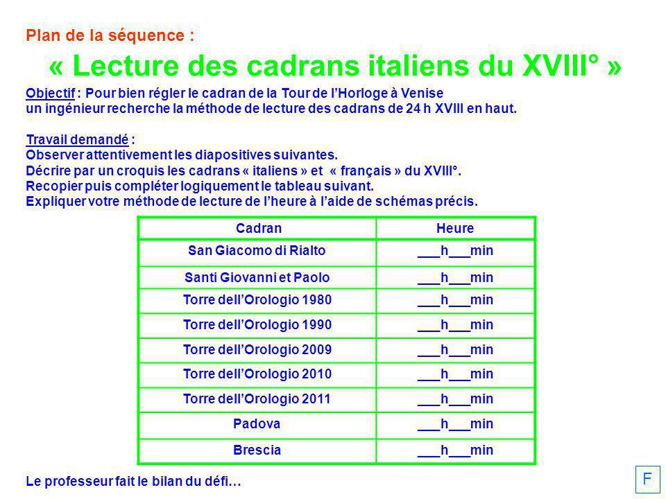 Plan de la séquence : Objectif : Pour bien régler le cadran de la Tour de lHorloge à Venise un ingénieur recherche la méthode de lecture des cadrans de 24 h XVIII en haut.