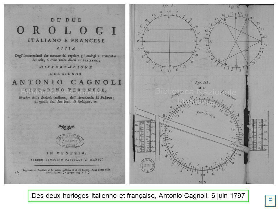 F Des deux horloges italienne et française, Antonio Cagnoli, 6 juin 1797