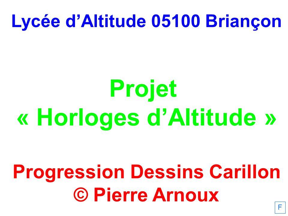Lycée dAltitude 05100 Briançon Projet « Horloges dAltitude » Progression Dessins Carillon © Pierre Arnoux F