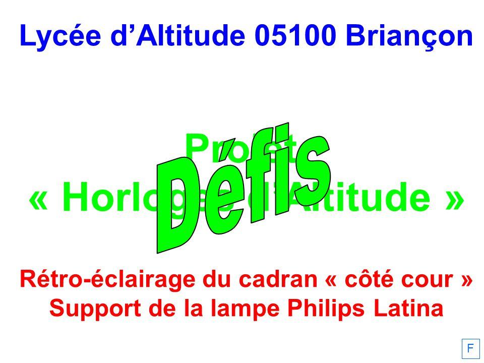 Lycée dAltitude 05100 Briançon Projet « Horloges dAltitude » Rétro-éclairage du cadran « côté cour » Support de la lampe Philips Latina F