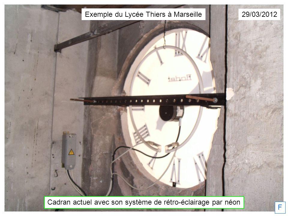 29/03/2012 F Cadran actuel avec son système de rétro-éclairage par néon Exemple du Lycée Thiers à Marseille