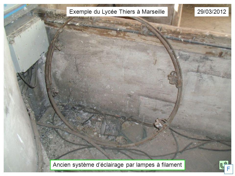 29/03/2012 Ancien système déclairage par lampes à filament Exemple du Lycée Thiers à Marseille F