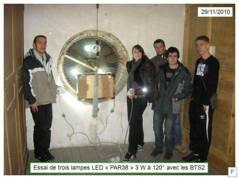 29/11/2010 F Essai de trois lampes LED « PAR38 » 3 W à 120° avec les BTS2