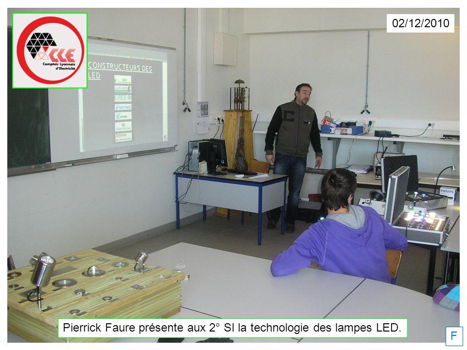 02/12/2010 Pierrick Faure présente aux 2° SI la technologie des lampes LED. F