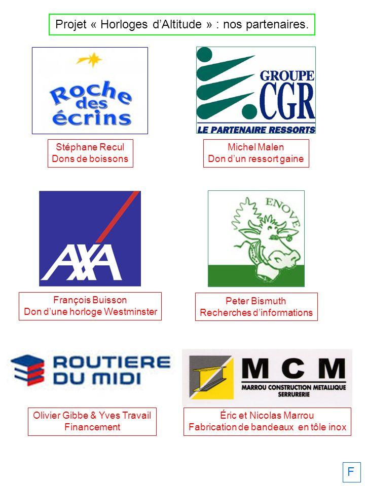 F Stéphane Recul Dons de boissons Projet « Horloges dAltitude » : nos partenaires.