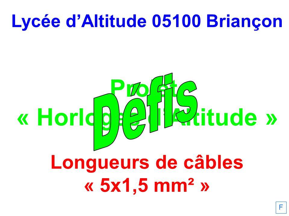 Lycée dAltitude 05100 Briançon Projet « Horloges dAltitude » Longueurs de câbles « 5x1,5 mm² » F