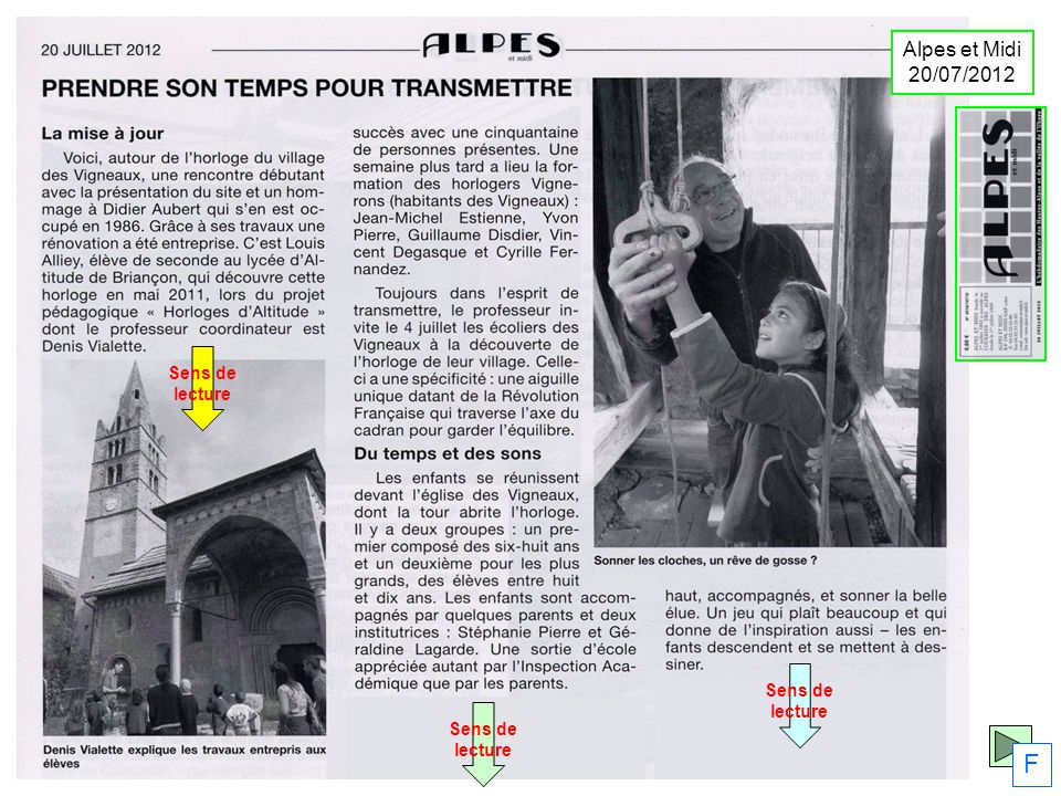 Sens de lecture Sens de lecture Sens de lecture F Alpes et Midi 20/07/2012