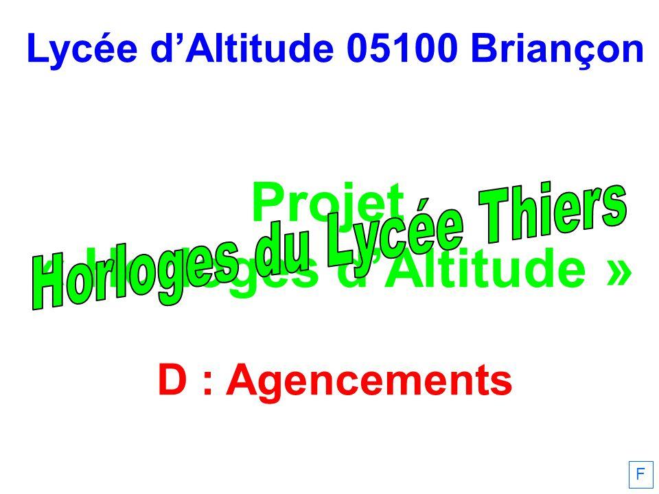 Lycée dAltitude 05100 Briançon Projet « Horloges dAltitude » D : Agencements F