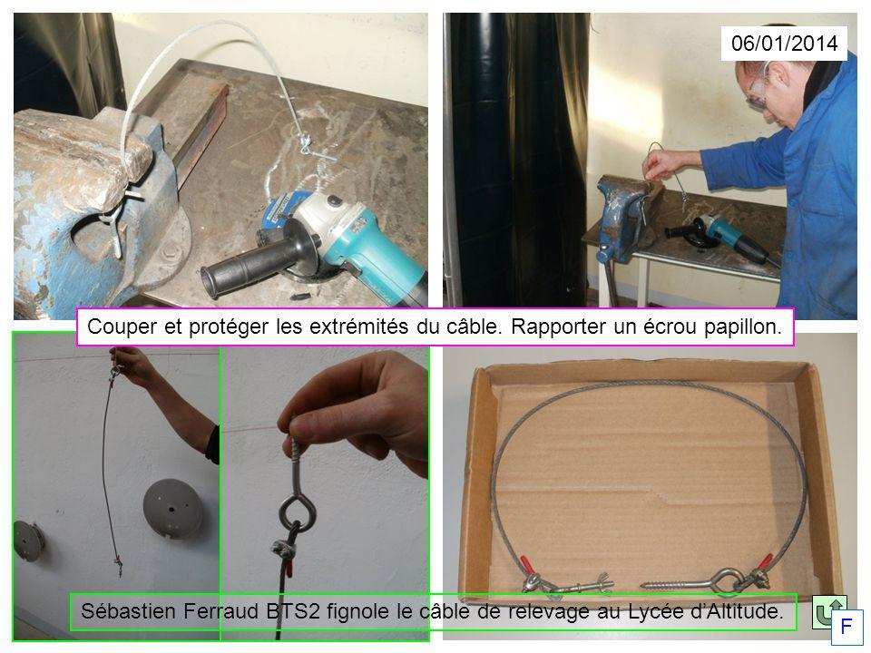06/01/2014 Sébastien Ferraud BTS2 fignole le câble de relevage au Lycée dAltitude. F Couper et protéger les extrémités du câble. Rapporter un écrou pa