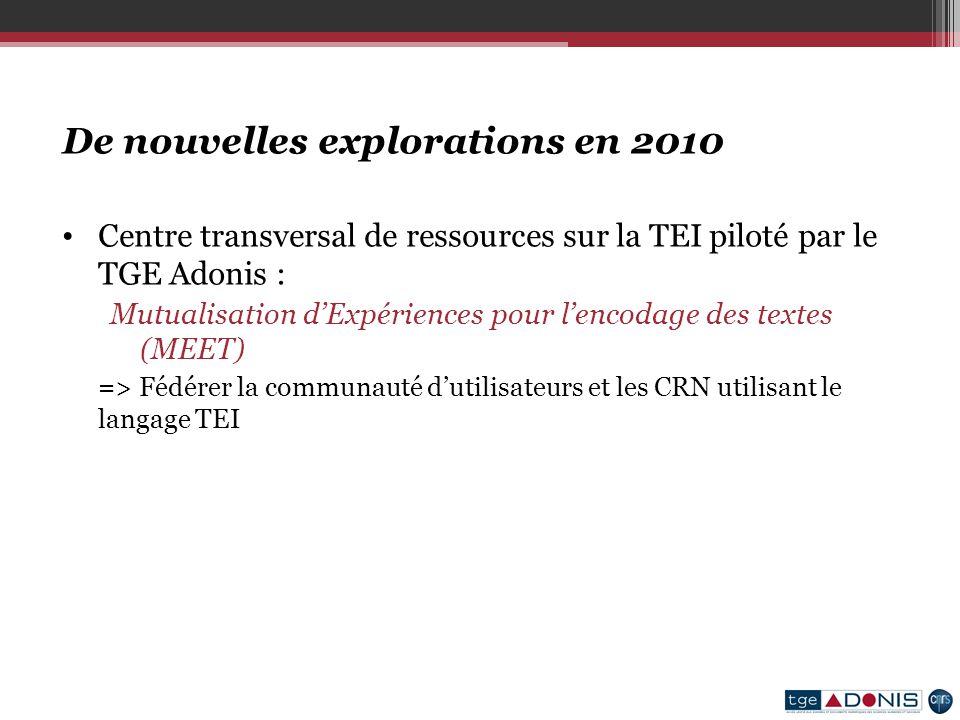 De nouvelles explorations en 2010 Centre transversal de ressources sur la TEI piloté par le TGE Adonis : Mutualisation dExpériences pour lencodage des textes (MEET) => Fédérer la communauté dutilisateurs et les CRN utilisant le langage TEI
