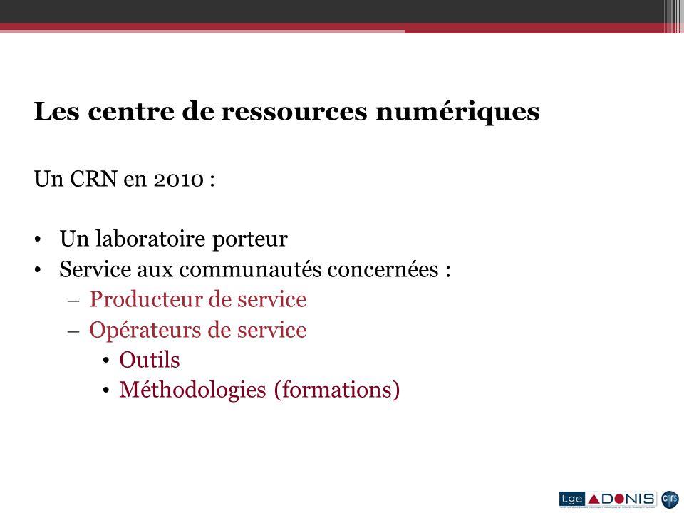 Les centre de ressources numériques Un CRN en 2010 : Un laboratoire porteur Service aux communautés concernées : – Producteur de service – Opérateurs de service Outils Méthodologies (formations)