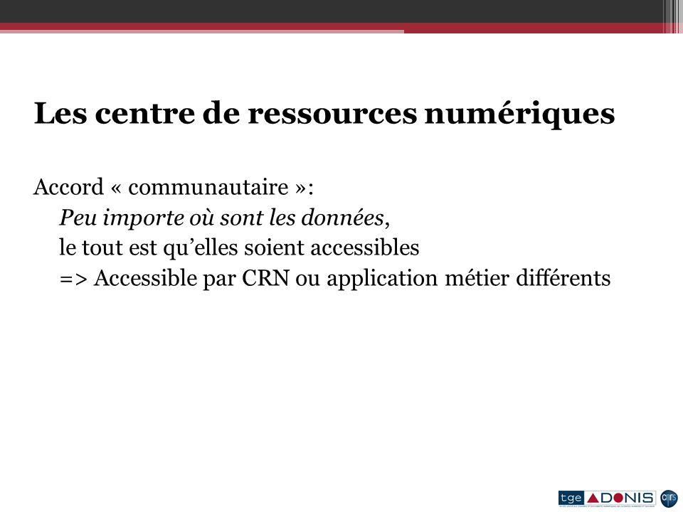 Les centre de ressources numériques Accord « communautaire »: Peu importe où sont les données, le tout est quelles soient accessibles => Accessible par CRN ou application métier différents
